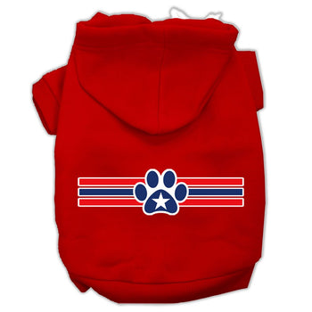 Patriotic Star Paw Screen Print Pet Hoodies Red Size XL (16)