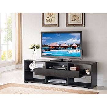 Elegant TV Stand With Shelves And Drawers, Black