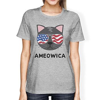 Ameowica Womens Graphic Tee Cute Cat Design Tee For 4th Of July