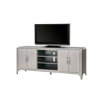 TV Stand With Antique Mirror, Silver