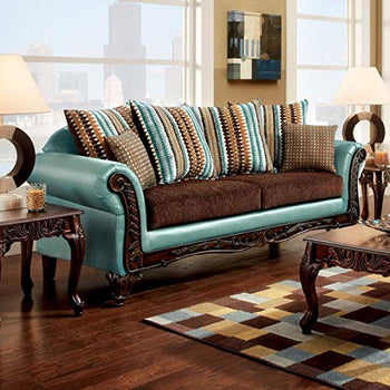 Wondrous Cushy Sofa Transitional Style, Teal & Brown