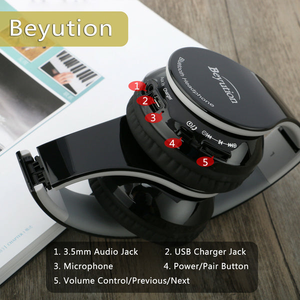 Stereo Hi-Fi Wireless V4.1 Bluetooth Headphones for Cell Phones Laptop Tablet PC