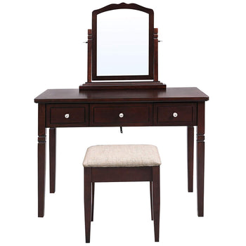 Wooden Vanity Set with 3 Drawers and Adjustable Mirror, Brown
