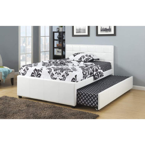 Multiutility Twin Bed With Trundle Squ Tufted Head Boards, White