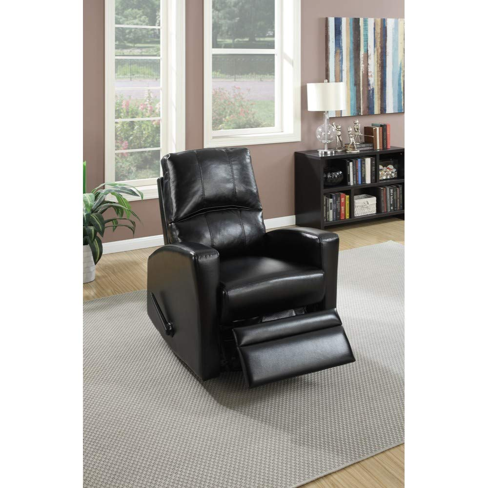 Swivel Recliner Chair In Black Faux Leather
