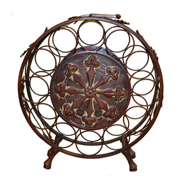 Traditional Style Metal Wine Rack, Brown