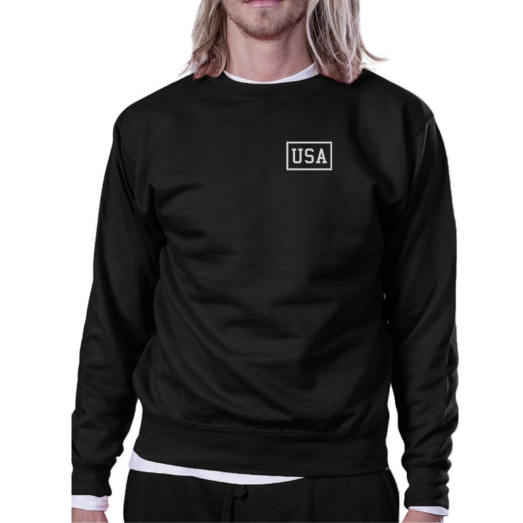 Mini USA Simple Design Black Crewneck Sweatshirt For Four of July
