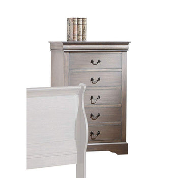 Wooden Five Drawer Chest In Antique Gray Finish