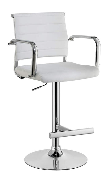 Modern Leatherette Padded Metal Bar Stool With Arms, White & Silver