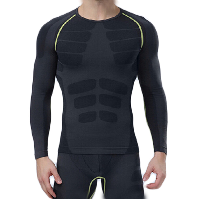 Men's Compression Long Sleeve Sports Tight Shirts Fitness Gym Running Base Layer Tops