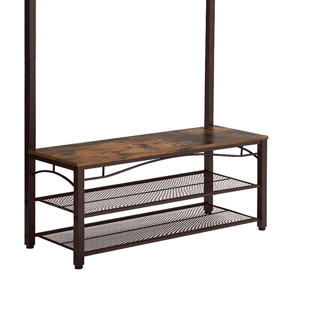 Metal Framed Coat Rack with Wooden Bench and Two Mesh Shelves, Brown and Black