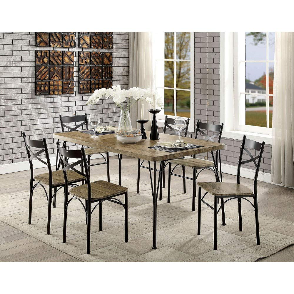 7Piece Wooden Dining Table Set In Gray and Weathered Brown