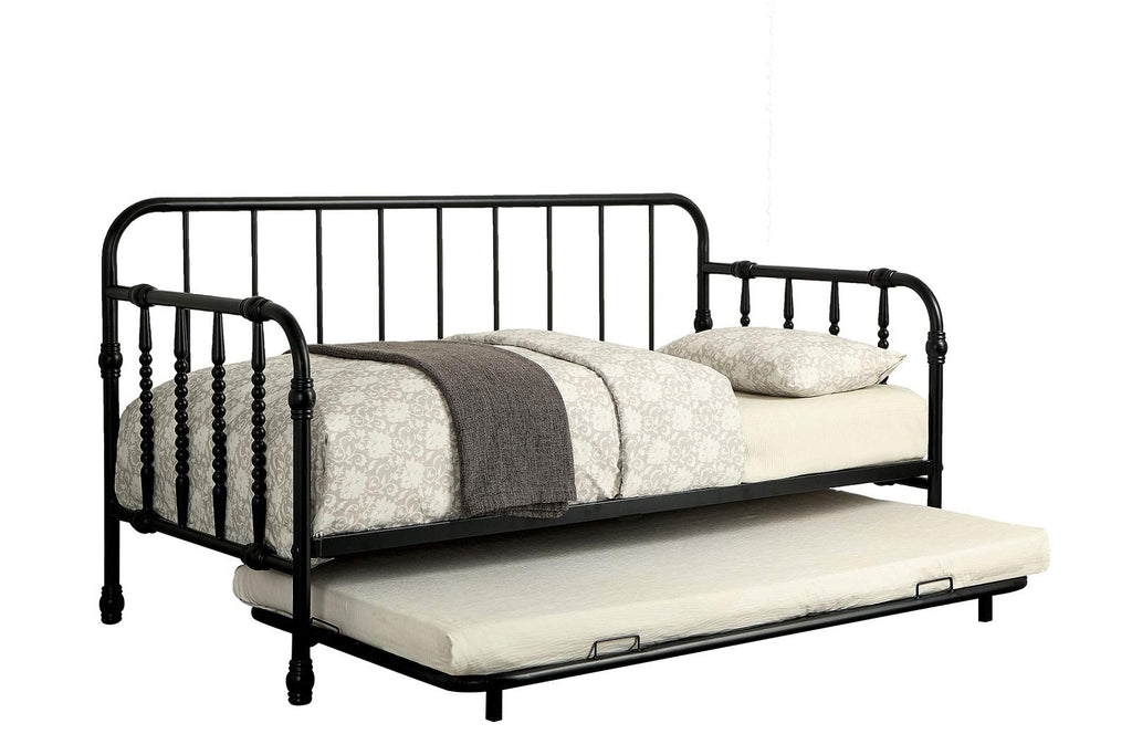 Metal Frame Daybed With Trundle, Black