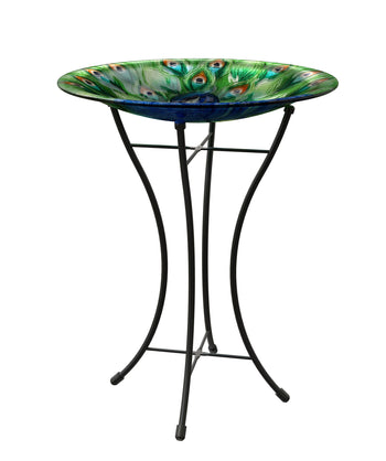 Peacock Glass Bird Bath With Stand