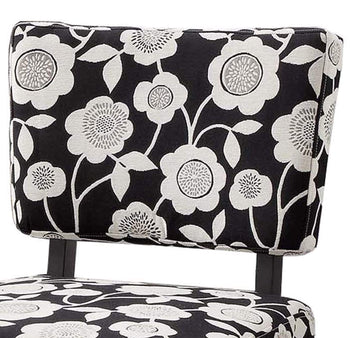Wooden Accent Chair with Floral Motif Fabric Upholstery, Black