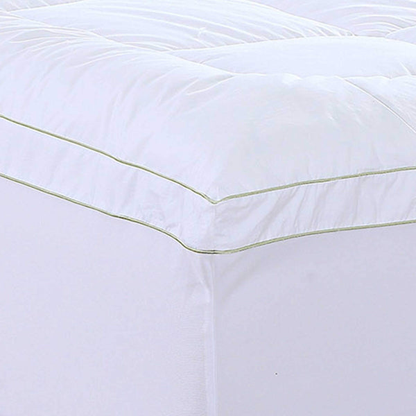 "18"" Square Quilted Accent King Piping Mattress Pad With Fitted Cover"