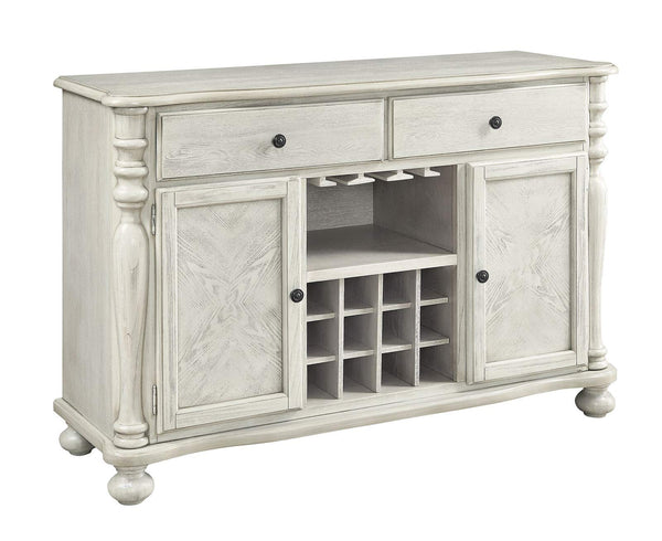 Wooden Server With Two Cabinets Doors And Two Drawers, White