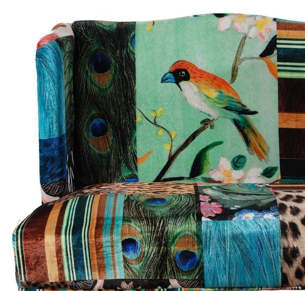 Bird Collage Print Settee, Multicolor