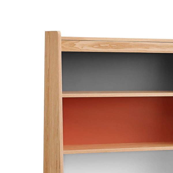 Wooden Bookcase with Shelved Compartments and Hairpin Legs, Multicolor