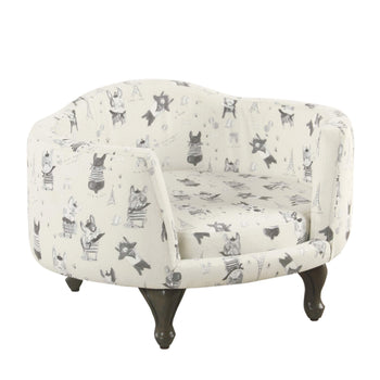 Wooden Pet Bed with French Bulldog Print Fabric Upholstery, Cream and Gray