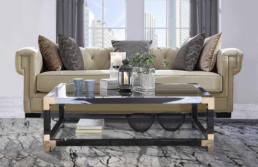 "54"" X 18"" X 34"" White Brushed, Black, Gold And Clear Glass Coffee Table"