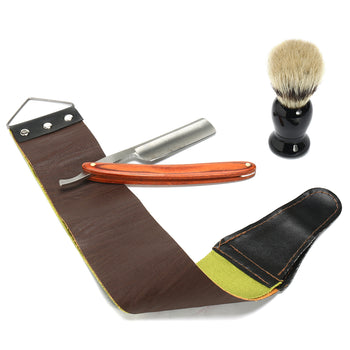 4Pcs Shaver Kit Cut Throat Straight Razor Shaving Brush Strop Wooden Box Gift Set