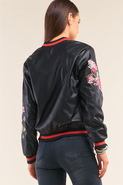 Rosa Black Vegan Leather Floral Embroidery Striped Hem Bomber Jacket