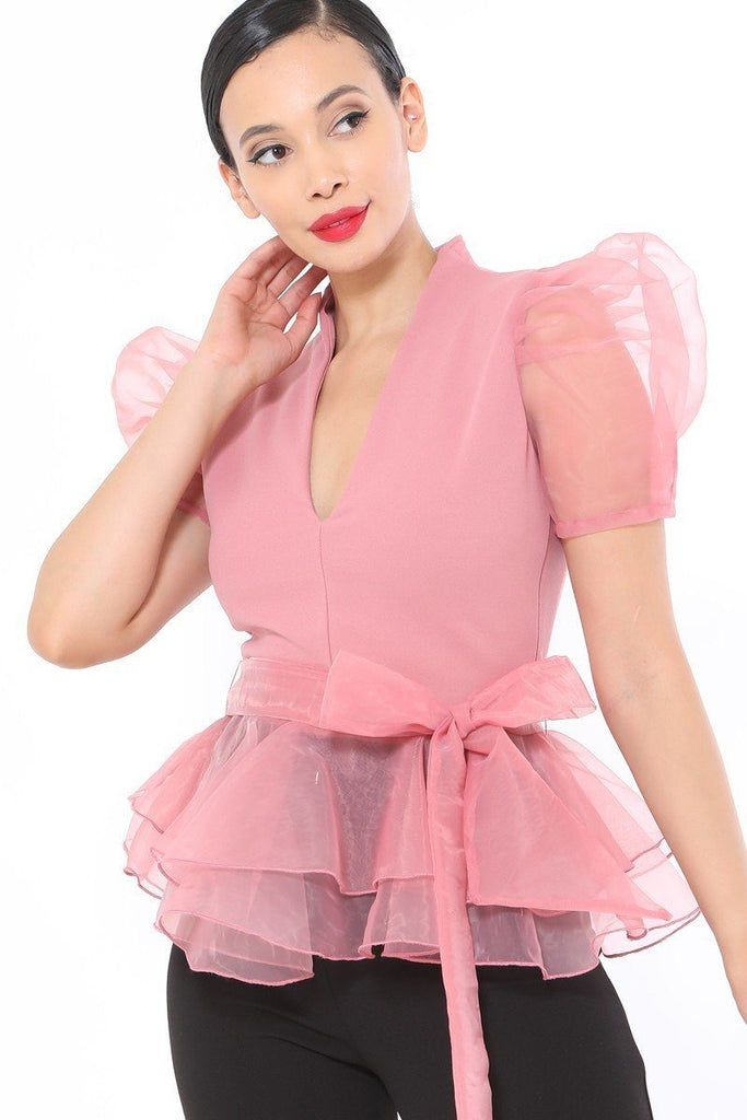 Organza Puff Short Sleeve Fashion Top