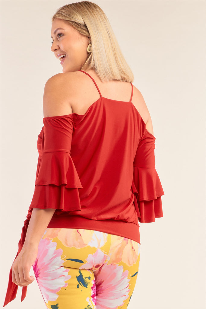 Plus Size Red Sleeveless Off-the-shoulder Layered Angel Sleeve Self-tie Hem Top