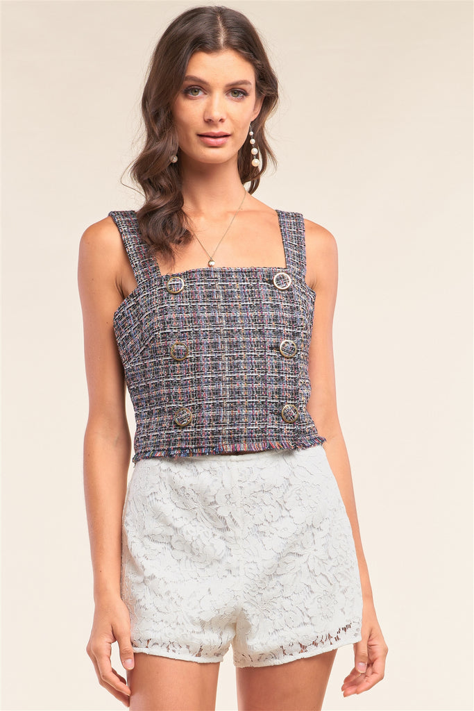 Multicolor Sleeveless Plaid Square Neck Buttoned Trim Cropped Top