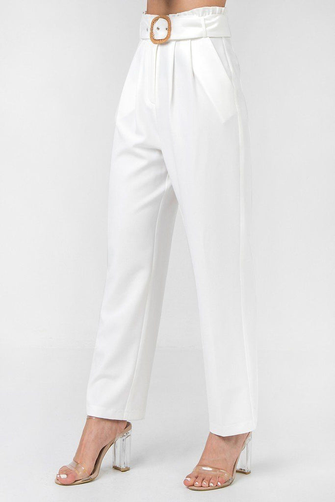 A Solid Pant Featuring Paperbag Waist With Rattan Buckle Belt