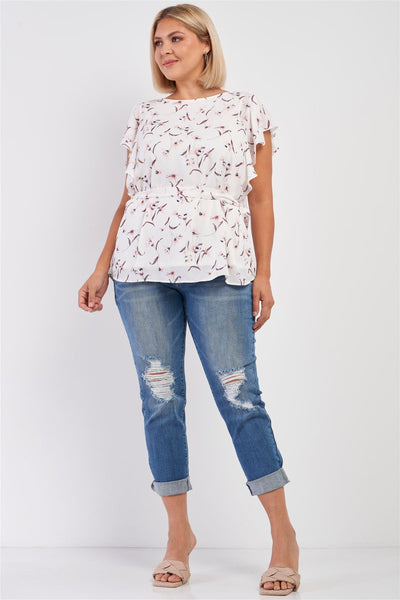 Plus White Floral Print Wing Sleeve Crew Neck Self-tie Belt Regular Fit Top