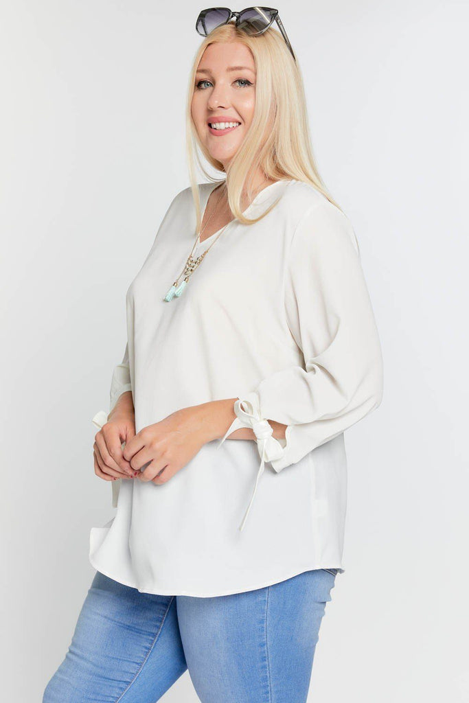 Solid V-neck 3/4 Sleeve Tie Accent Blouse Top