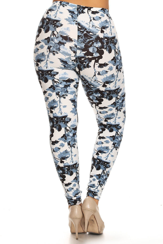 Plus Size Floral Print, Full Length Leggings In A Slim Fitting Style With A Banded High Waist
