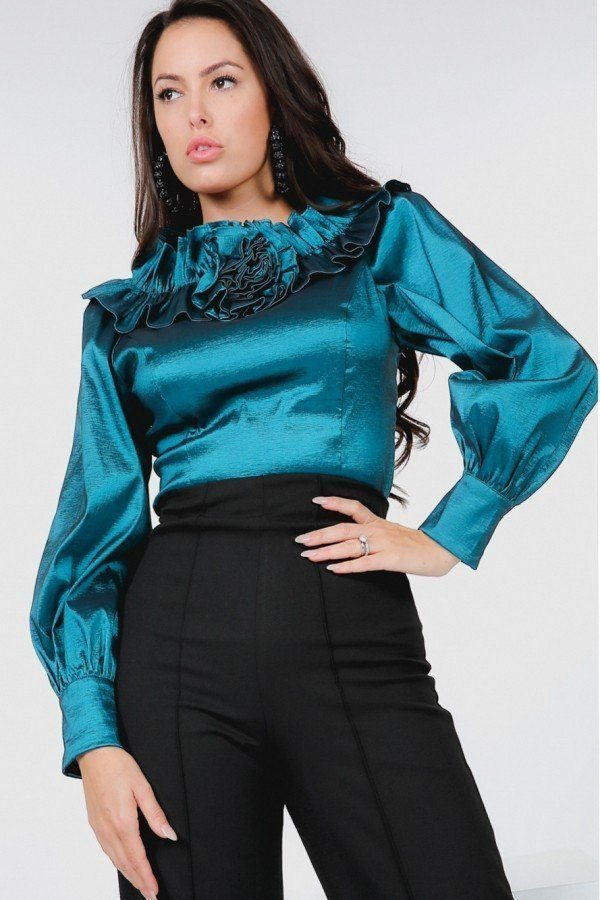 Flower Patch With Ruffle Neck Satin Blouse