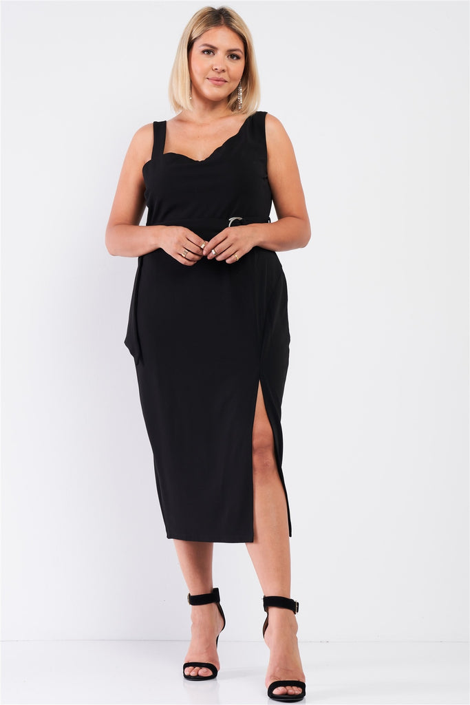 Plus Sleeveless Asymmetrical Shoulder Front Slit Detail Belted Dress