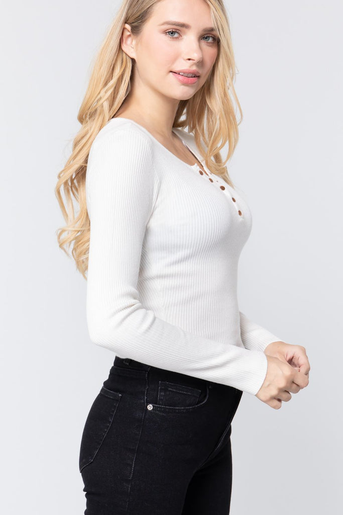 Snap Button Detail Sweater Top