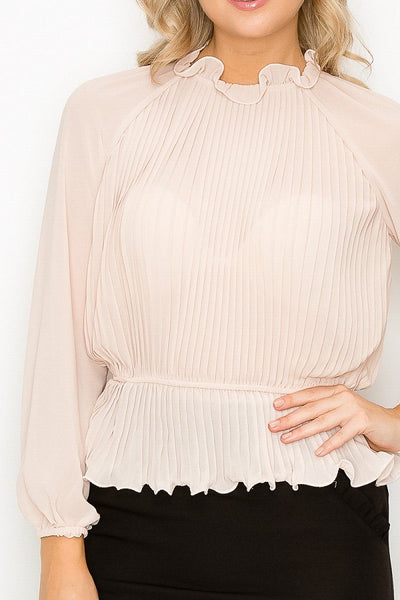 Ruffle Pleats Peplum Top