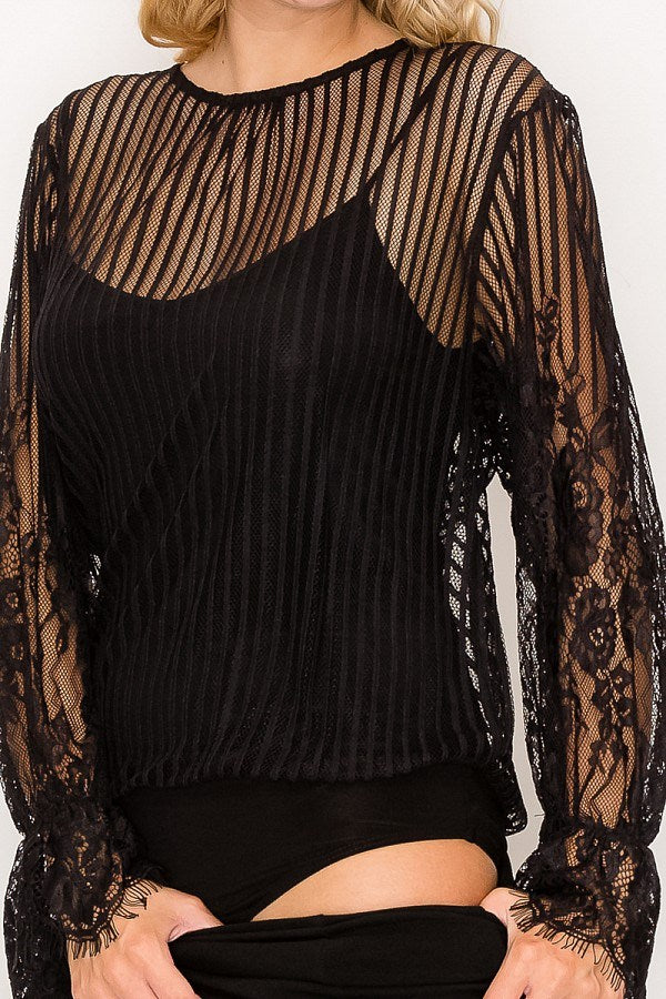 Lace Trim Shadow Stripe Bodysuit
