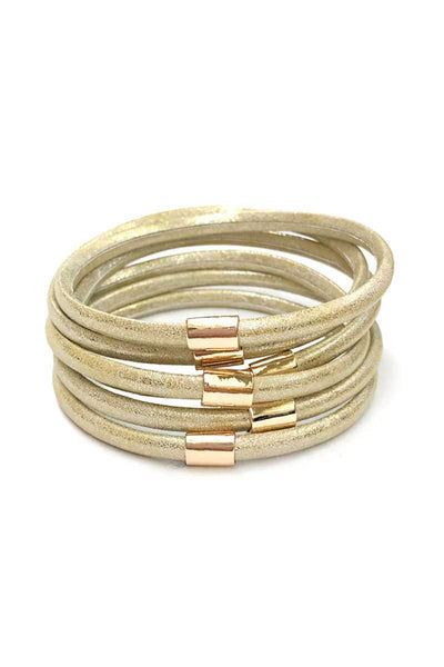 Multi Faux Leather Bangle Bracelet