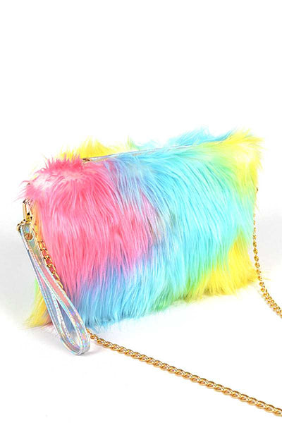 Multi Color Fur With Wrist Band Pouch Bag