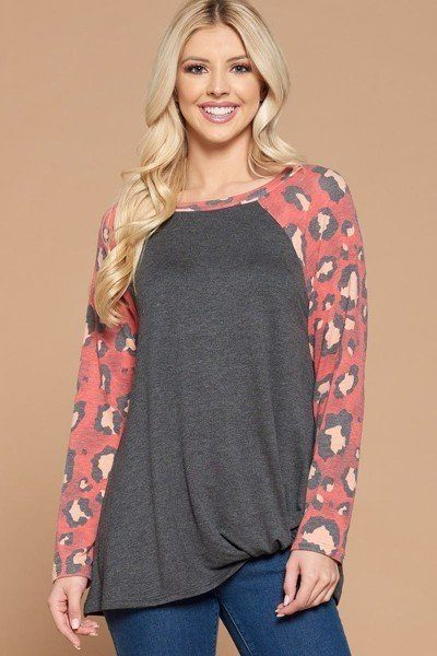 Casual French Terry Side Twist Top With Animal Print Long Sleeves