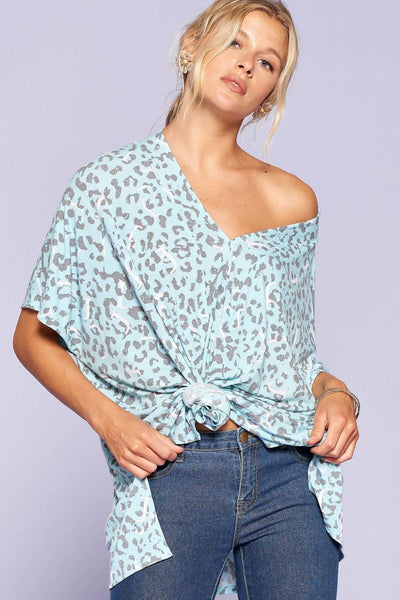 Leopard And Letter Printed Knit Top