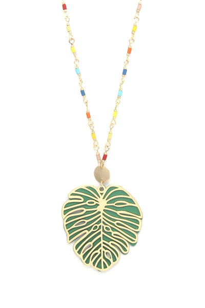 Tropical Leaf Pendant Beaded Long Necklace