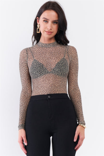 Taupe & Black Cheetah Sheer Mesh Mock Neck Long Sleeve Bodysuit