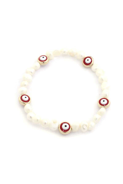 Eye Pearl Bead Stretch Bracelet
