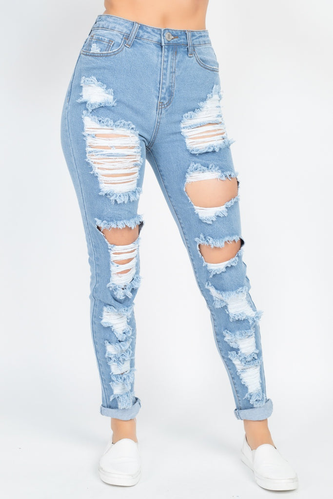 Distressed Straight Leg Jeans