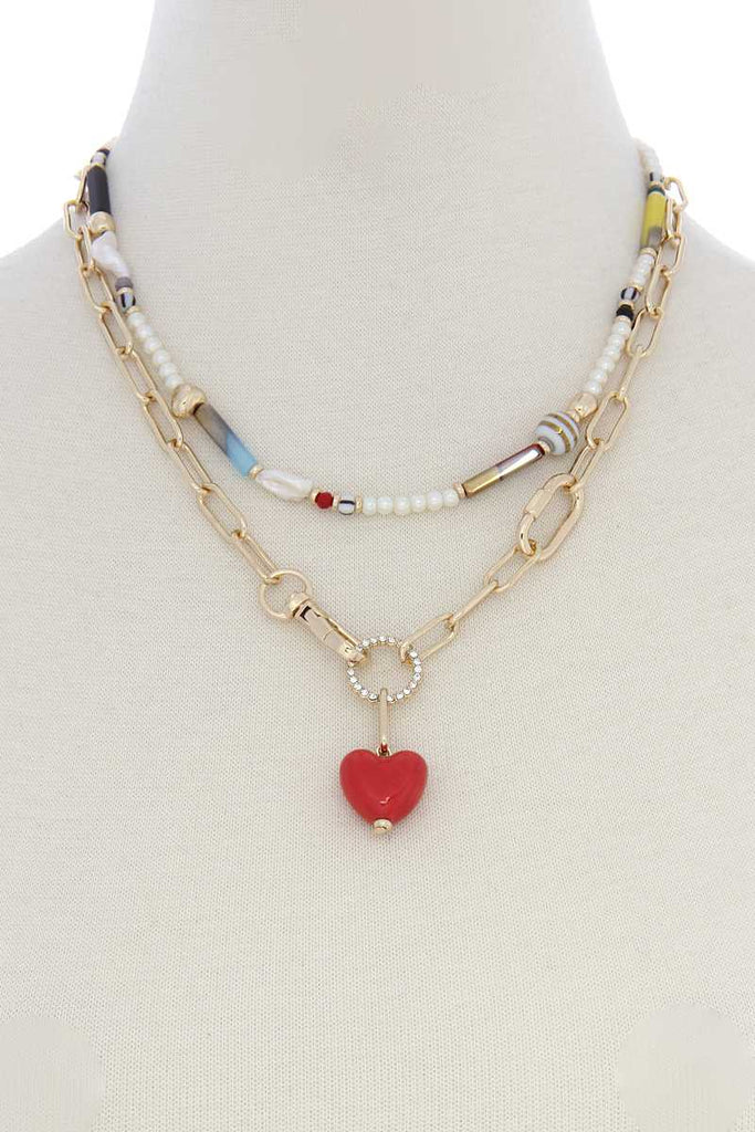 Heart Shape Oval Link Beaded Layer Necklace