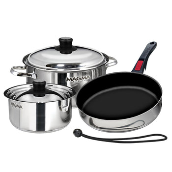 Magma 7-Piece Professional Series Gourmet Nesting Stainless Steel Cookware w/Ceramica Non-Stick
