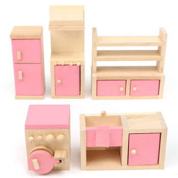 Wooden Doll Set Children Toys Miniature House Family Furniture Kit Accessories